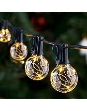 GlobaLink Lichtsnoer voor buiten, IP65, gloeilampen, G40, 11,7 m, tuinlichtketting met 30 lampen, buiten-/binnenverlichting met stekker, decoratie voor kamer, bar, tuin, balkon (3 reservelampen), warmwit