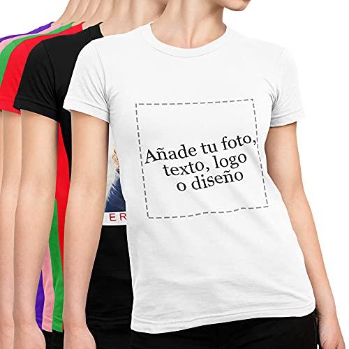Camiseta Personalizada para Mujer con Foto y Texto | Camiseta 100% Algodón Manga Corta | Impresión Digital (DTG) sobre Tejido Talla M