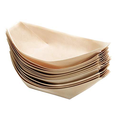 OVBBESS 100 x barco de madera ecológico fingerfood plato desechable plato plato plato de cena para pequeños bocadillos