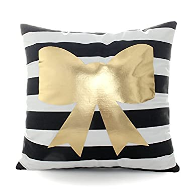 Kingla Home Decorative Square Bronzing Pillowcases Black Striped With Gold Bow Tie Cushion Cover 18x18 Inch Couch Throw Pillows Covers