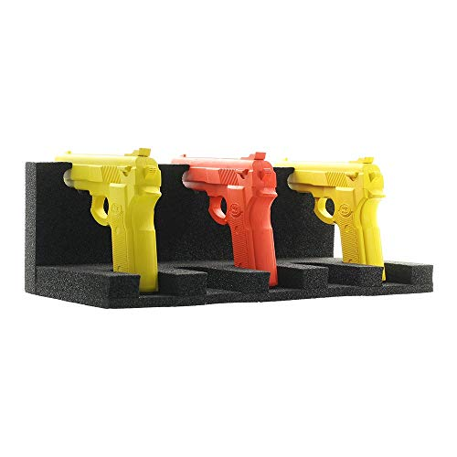 Supporto per arma corta in gomma per tutte le casse e armadi di armi (anche di altri produttori). Compatibile con qualsiasi arma corta (pistola, Revolver, ecc.). Larghezza regolabile. Stoccaggio ordinato e a vista per 5 armi. Senza danni. Fissaggio d...