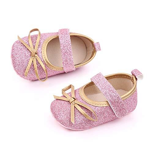 YWLINK Bebé NiñA Zapato De Princesa con Cinta MáGica para 0-25 Meses NiñOs Primeros Pasos Zapatos De Cuero con Lazo Casual Moda Antideslizante Flor Suave Suela