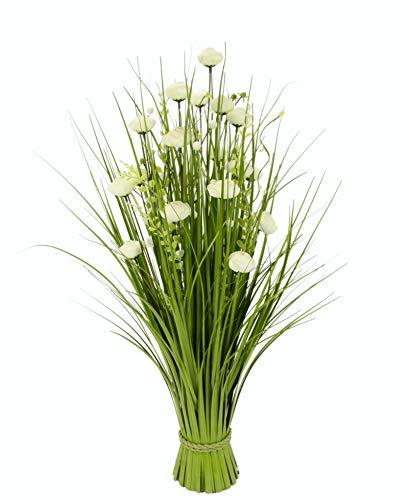 Flair Flower Grasbusch mit Ranunkel Blüten Bund stehend Stehgras Grasbündel Dekogras künstliches Gras Pflanzen Ziergras Osterdeko Frühjahr Kunstblume Blume, Weiß, ca. 73x32x32 cm