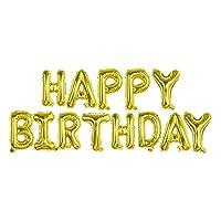 13pcs誕生日バルーンホイルレターバルーン誕生日パーティーの装飾子供大人の誕生日の風船アルファベット風船セット (色 : ゴールド)
