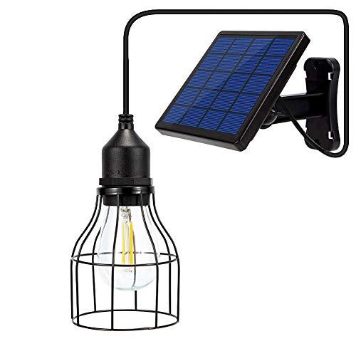 Ousam LED Solar Light Outdoor Chandelier E27 Edison Bulb Solar Panel with 9.8ft Cable for Garden Yard Christmas Playhouse Lighting(Warm White Lantern)