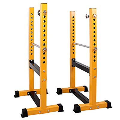 ER KANG Multi-Functional Barbell Rack, 800 LBS Capacity Fitness Adjustable Power Cage Squat Power Rack Dip Stand for Home Gym, Weight Lifting, Bench Press, Workout (Yellow)