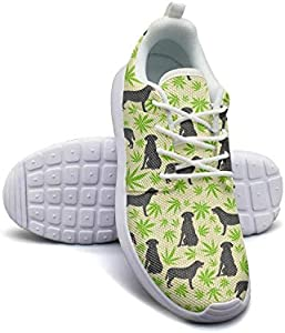 Cannabis Leaf Dog Green Women's Print Shoes Slip Resistant Quick Drying Trainer Shoes Athletic Sneaker