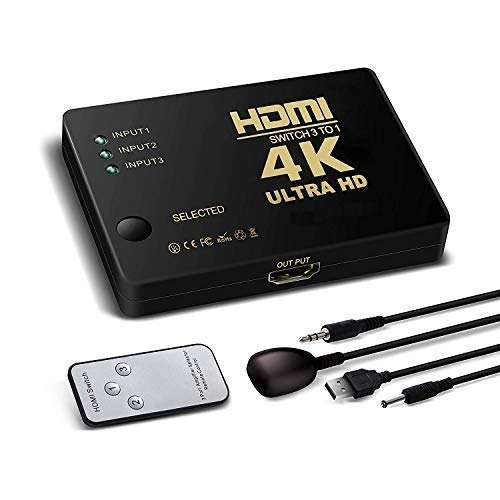 Protokart HDMI Switch Splitter 3 Ports with Remote Control, UHD 2K 4K Support and HD Audio for Xbox One, Roku 3, Apple TV HD TV PS3 PS4 (Black)
