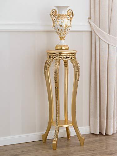 SIMONE GUARRACINO LUXURY DESIGN Sellette Ronde Gaila Style Baroque Français Petite Table Porte-Pots Feuille Or marbre crème