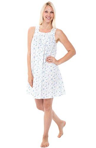 Alexander Del Rossa Womens 100% Cotton Lawn Nightgown, Sleeveless Button Up Sleep Dress, Small Blue Flowers (A0590L06SM)