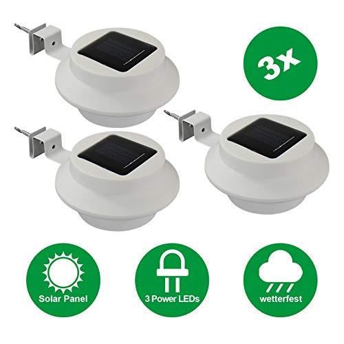 Alma Garden Parent - Lámpara solar LED para canalón, color blanco frío, incluye batería y material de montaje Lámpara de pared exterior para casa, jardín o terraza, color blanco, Blanco