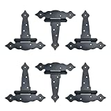 NUZAMAS - Bisagras resistentes para cobertizo, bisagras de madera, bisagras para puertas de granero de puerta, bisagras de puerta de granero, herrajes de hierro forjado negro inoxidable