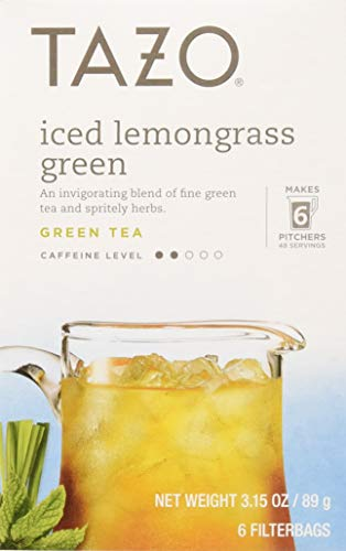 Tazo Tea Bag, Iced Lemon Grass Green, 6 Count, Pack of 4 (Packaging May Vary)