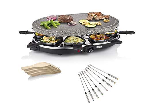 Raclette und Steingrill Set mit Teppan Gabeln für 8 Personen, 1200 Watt, Antihaftbeschichtung, 01.162720.01.001