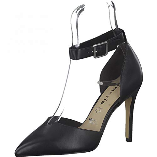 Tamaris Mocasines para mujer, planos, zapatos de corte con tiras, color Negro, talla 36.5 EU