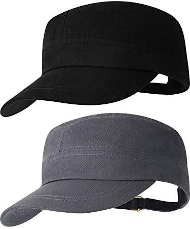 2 Pieces Cadet Hat Cotton Flat Top Cap Adjustable Baseball Cap for Men and Women product image