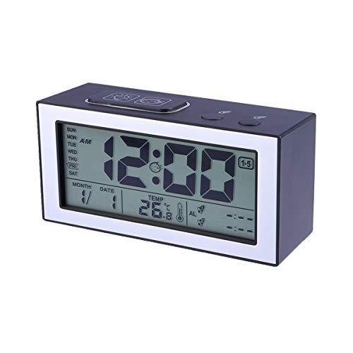 vosarea batería despertador digital luminoso Silencio Reloj Calendario Fecha Día de la semana Temperatura Snooze ajuste de la luminosidad (negro)