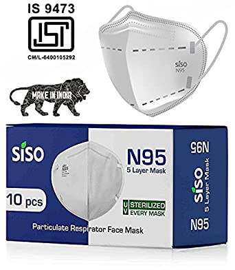 Siso ISI Mark/BIS Certified FFP2 Unisex Reusable/washable 5 Layer N95 Face Mask (Pack of 10) - White
