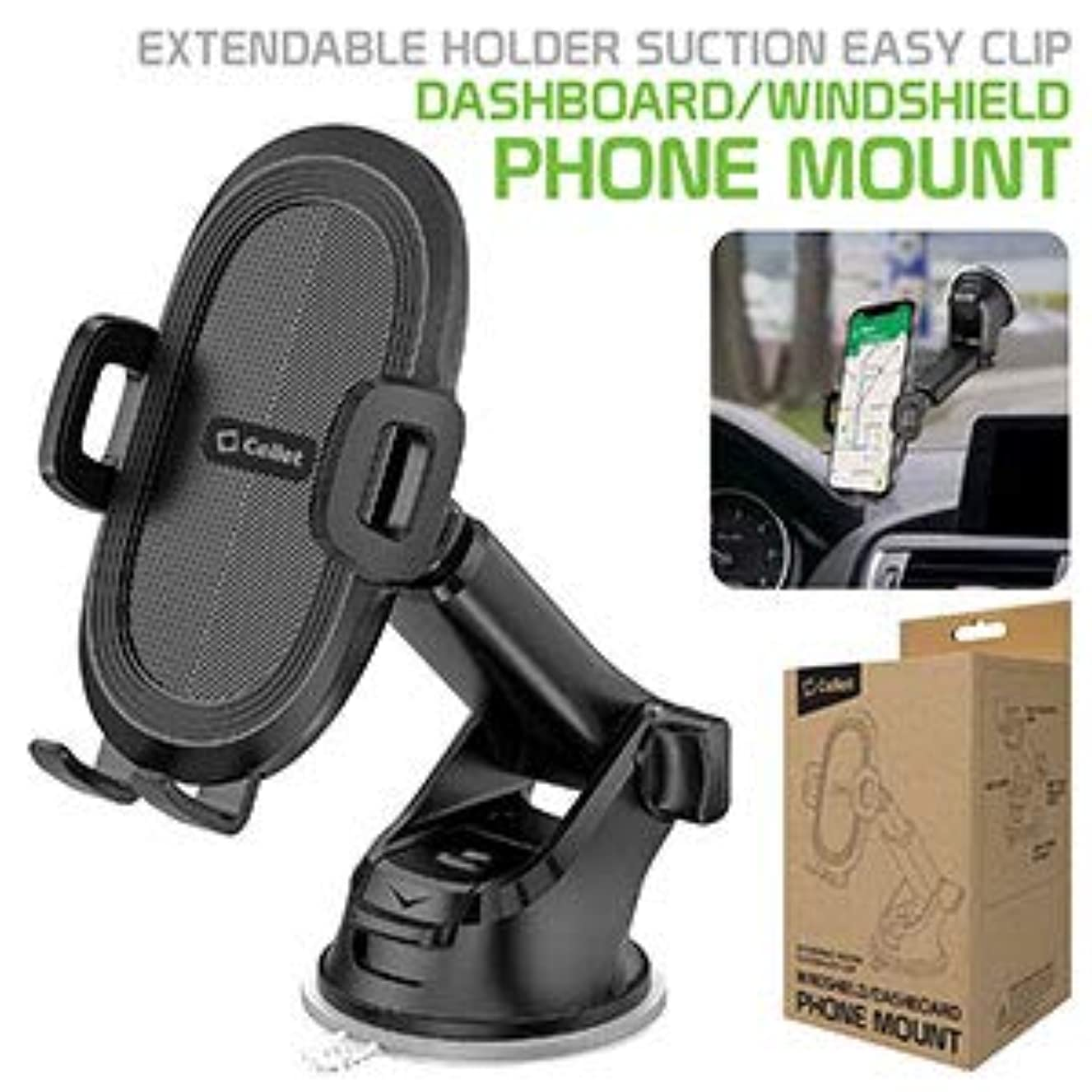 Windshield/Dashboard Phone Holder Mount with Reusable Suction Pad, Lock Lever, 360 Degree Rotating Cradle, Folding and Extendable Arm Compatible w/iPhone 8 Cable, Random Colors