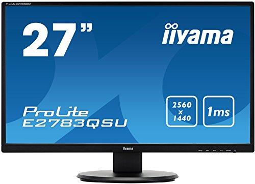 iiyama ProLite E2783QSU-B1 68,5cm (27 Zoll) LED-Monitor WQHD (DVI, HDMI, DisplayPort, USB3.0, FreeSync) schwarz