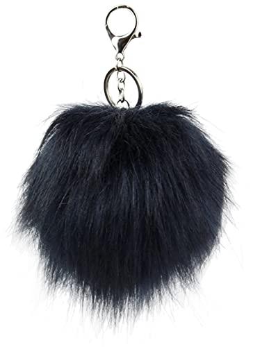 Ever Bloom Porte-clés femme avec pompon en fourrure synthétique - Pendentif de sac - Pompon en fourrure - Pendentif pour trousseau de clés de voiture, bleu marine, taille unique
