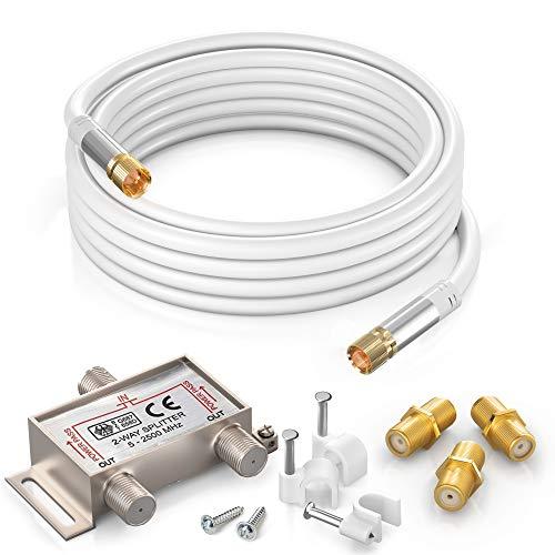 Cable coaxial RG6 (10 pies), color blanco, conector tipo F macho recto con divisor de 2 vías, acopladores, clips de cable de clavo