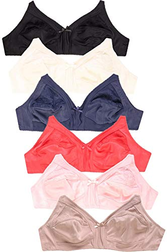 6 Pieces Wireless Lace Full Cup 3-Hooks No Padding Wire Free Bra (40D)