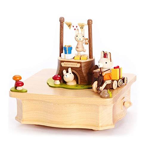 ShenZuYang Spieluhr, für Mädchen, Schmuckkästchen, Wald, Party, Styling, Massivholz, gelb, 14cm*13.8cm