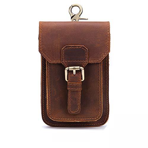Morbuy Cinturón Bolso de Cintura Hombre, Multiusos Cuero Genuino Vertical Riñonera para Casual Deporte Senderismo de Viaje (Pequeña, Marrón)