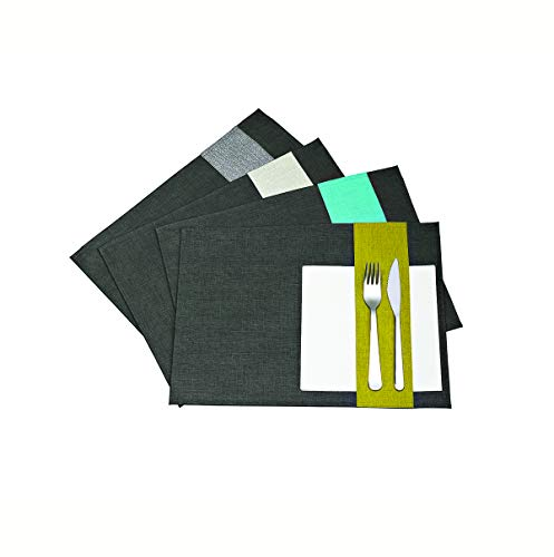 Visiodirect Lot de 6 Sets de Table en Gris/Jean Bleu - 40 x 29 cm