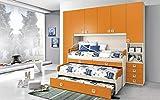 Dafne Italian Design Dormitorio completo con puente, efecto abedul, mandarina (triple cama individual y armario) (300 x 96 x 259 cm)