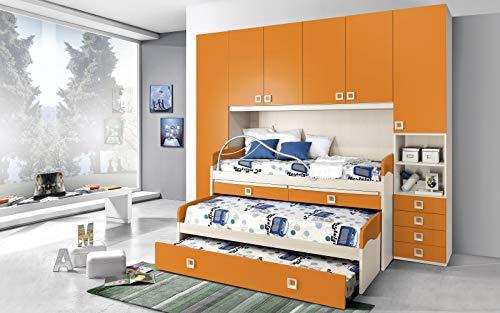 Dafnedesign.Com - Habitación completa de puente, efecto abedul, mandarina (triple cama individual y armario) (cm. 300 x 96 x 259h