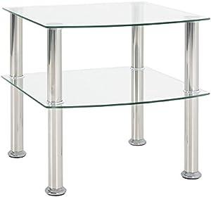Haku Moebel 15208Mesa Auxiliar Acero/Acero Inoxidable/Cristal Acero Inoxidable/Cristal Transparente, 45x 45x 44cm