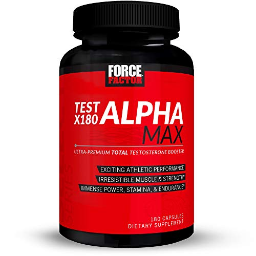 Test X180 Alpha Max Total Testosterone and Nitric Oxide Booster for Men with Fenugreek Seed and Tribulus to Increase Blood Flow and Improve Male Athletic Performance, Force Factor, 180 Capsules