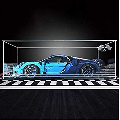 obzk Caja de exhibición de acrílico, escaparate acrílico de escaparate para Bloques de construcción Modelo Compatible con 42083 Technic Bugatti- Caja de acrílico Transparente (no Incluye el Modelo)