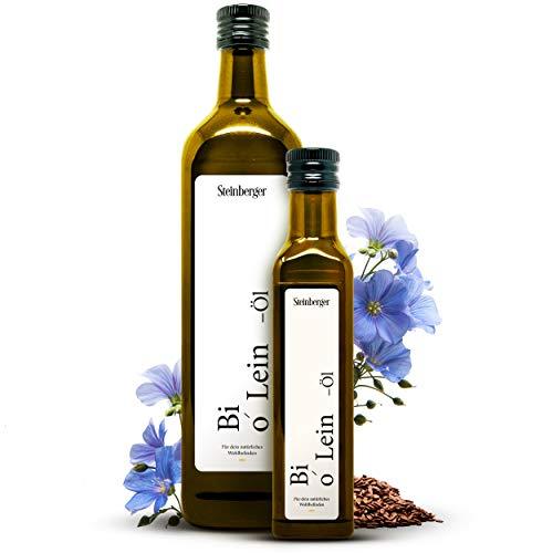 Premium BIO Leinöl von Steinberger | 100% rein & kaltgepresst | Geschmacksneutrales Leinöl aus nachhaltigem Anbau | 250 ml Glasflasche mit Dosierer | Hoher Gehalt an gesunden Omega-3-Fettsäuren
