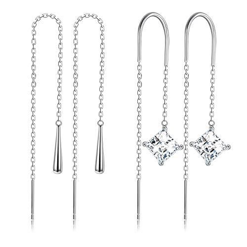 Sllaiss 925 Sterling Silber Linie Ohrringe Set für Damen Threader Ohrringe Wassertropfen Zirkonia Durchziehen Ohrringe Hypoallergen