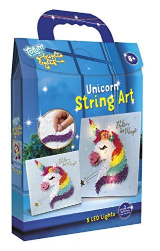 TM Essentials 071902 Unicorn String Art Bastelset – Creativity Set mit Fadenbastel-Kunst mit LED-Lichterkette, Gitzersteinchen & Strickgarn, Multicolor