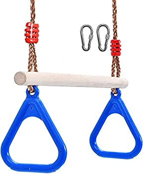 Lelly Q Children Trapeze Swing Bar with Rings Wooden Playset with Plastic Rings Gym Rings for Kids