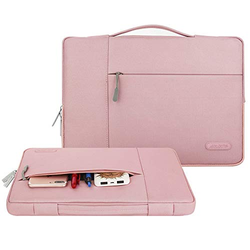 MOSISO Tasche Sleeve Hülle Kompatibel mit 2019 2018 MacBook Air 13 Zoll A1932, 13 Zoll MacBook Pro A2159 A1989 A1706 A1708, Polyester Multifunktion Laptoptasche Aktentasche, Rosa - 2