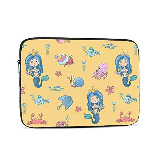 KXT Cute Little Mermaid Laptop Sleeve Case,Briefcase Cover Protective Bag,Ultrabook Netbook Carrying Handbag for Women Men