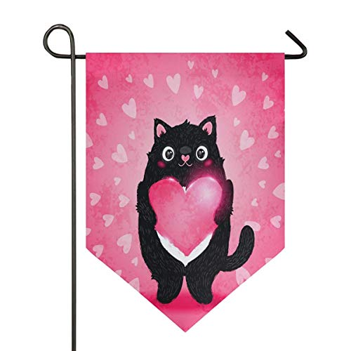Valentines Day Black Cat Pink Hearts Cute Animal Wedding Garden Flag Double Sided Home Yard Decor Banner Outdoor 12.5 x 18 Inch
