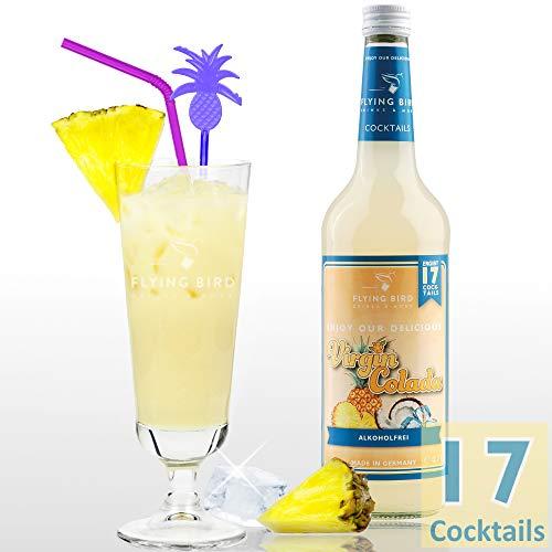 Virgin Colada - Cocktail Sirup PreMix für 17 Mixgetränke alkoholfrei | Flasche 0,7l mit allen Zutaten | Einfach mit Ananassaft mixen, fertig
