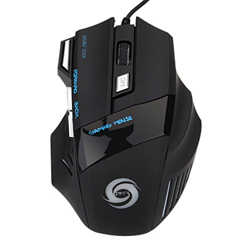 KKmoon Wired Gaming Mouse 3200 DPI 7 Button 7D LED Optical USB for Laptop PC Professional Gamer Adjustable Black
