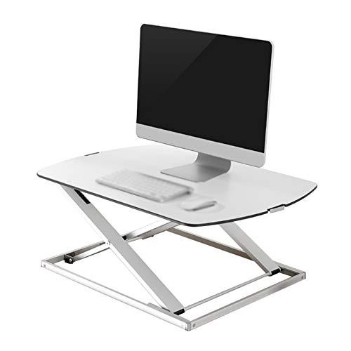 YJFENG Sitz-Steh-Schreibtisch, Ergonomische Riser Workstation, Mit Gasfeder, Höhenverstellbar Tragbarer Hubtisch Für Sitzendes Personal (Color : White, Size : 79.6x56x3.2-40cm)