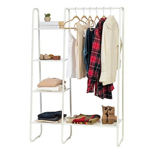 IRIS USA PIB6 Metal Garment Rack with Shelves White