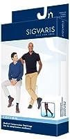 Sigvaris Men's Cotton Thigh High with Grip Top 20-30mmHg Closed Toe Short Length, Large Short, Crispa by Sigvaris