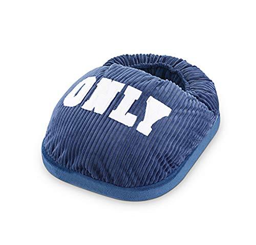 YXWnjb Warmer fußschatz warme Fußschatz, mikrowellengeeignete Hausschuhe, beheizte Hausschuhe, beheizte Schuhe, Herren Schaffell Hausschuhe (Farbe : Blau)