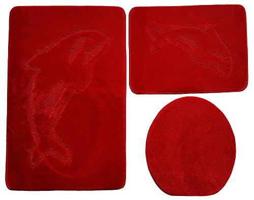 Ilkadim Delphin Badgarnitur 3 TLG. Set 55x85 cm einfarbig, WC Vorleger ohne Ausschnitt für Hänge-WC (rot)