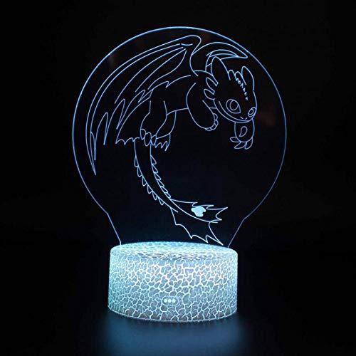 Weihnachten Kinder Geschenk Tischlampe Wohnzimmer Cartoon Anime Dragon Attentäter Krieger Dinosaurier Monster 3D Nachtlicht Licht